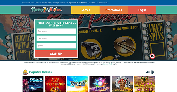 Winneroo Casino Re-Brands as CrystalSpins